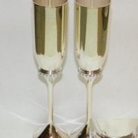 Sidabruotos taurės su swarovski, sampano taures, vestuvems