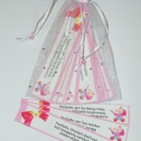 Pažadų kortelės rožinės, krikstynu atributika