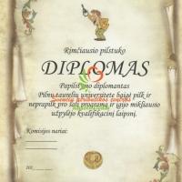 pilstuko diplomas, vestuviu atributika