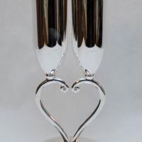 Sidabruotos taurės širdelės formos kojelės, sampano taures, vestuvems