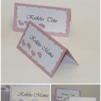 Stalo kortelės su pėdutėmis, krikstynos, atributika, vardu korteles
