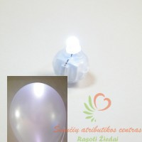 Led baltos spalvos lempute helio balionams