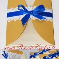 auksinis kvietimas, mėlynu kaspinu