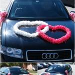 dekoras, vestuviu limuzinas, dvi sirdys