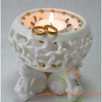 porcelianinis šeimos židinys su auksiniais žiedais