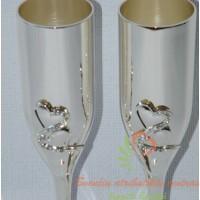 šampano taurės jauniesiems, vestuvių atributika