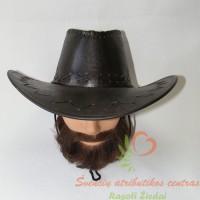 odinė skrybėlė tamsiai rudos spalvos
