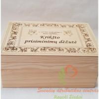 medinė krikštynų kraitelio dėžutė, krikštadėžė