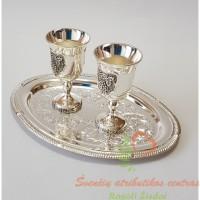sidabruotas rinkinys, padėkliukas, taurelės