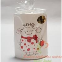 2019 metų simbolis kiaulė rankų darbo žvakė