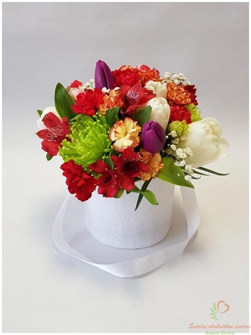 Pavasarinių gėlių kompozicija dėžutėje pristatome Lietuvoje