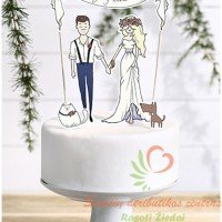 Torto smeigtukas popierinis vestuviniam tortui dekoruoti.