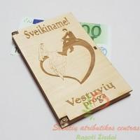 Pinigai vokelyje, medinis pinigų vokelis, kaip dovanoti pinigus