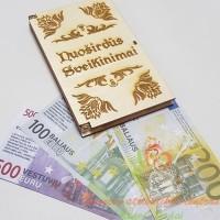 dėžutė pinigams, Pinigai vokelyje, medinis pinigų vokelis, kaip dovanoti pinigus