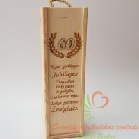 graviruotos medinės dovanos, graviruota vyno dėžė, Jubiliejus 60