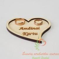 """Minimalistinis medinis padėkliukas žiedams su graviruotu užrašu: """"Amžinai kartu"""""""