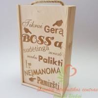 Dviguba Vyno dėžė Gerą Bosą sunku rasti, graviruotos dovanos boso dienos proga