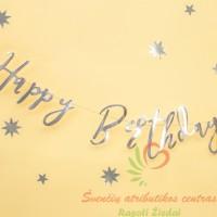 Raidžių girlianda blizgi sidabrinės spalvų Happy Birthday