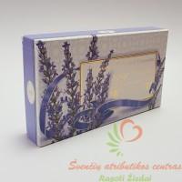 Itališkas Saponificio Artigianale Fiorentino levandų aromato muilas dėžutėje 3vnt. po 100g.