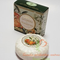 Itališkas Saponificio Artigianale Fiorentino jazminų ir mandarinų aromato muilas dėžutėje 1vnt. 100g