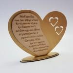 Medinė graviruota aukso spalvos širdis padėka tėveliams vestuvių proga nuo Jaunųjų
