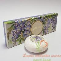 Itališkas Saponificio Artigianale Fiorentino visterijų aromato muilas dėžutėje 3vnt. po 100g