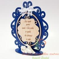 Mėlynas graviruotas stovelis su angeliuku
