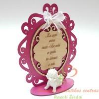 Rožinis graviruotas stovelis su angeliuku