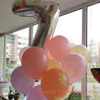 Sidabrinis skaičius balionų puokštė