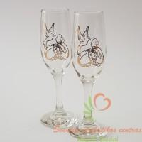 Stiklo taurės šampanui su auksiniais balandžiais